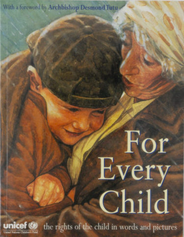 For Every Child cover art, up close of a bundled boy in the embrace of an older woman