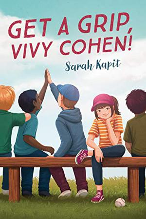 Cover of Get a Grip Vivy Cohen! depicting a young girl in a pink baseball hat, yellow shirt and jeans sitting on a bench facing out to the reader, surrounded with various boys on the bench who look away from the viewer.
