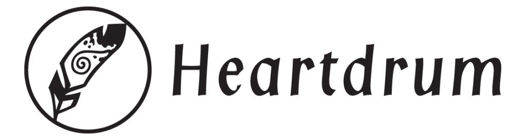 Heartdrum logo features a feather within a circle