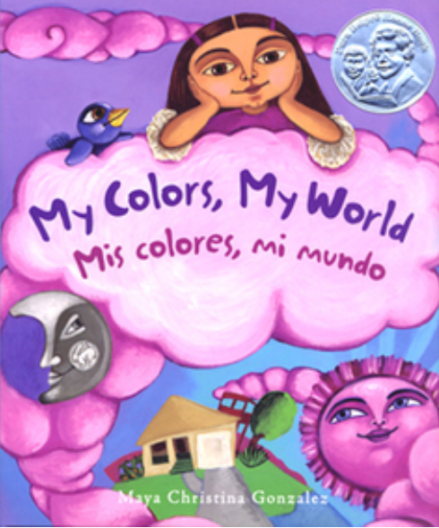 Cover of My colors, My world with a girl on a pink cloud over a house and smiling pink sun