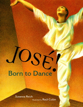 Cover of Jose! Born To Dance depicts a man in all white dancing in front of an orange background.