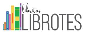libritos LIBROTES logo includes cursive and block letters on a white background with coloful clipart books to the left