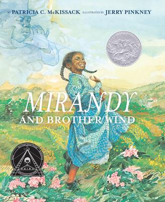 Cover of Mirandy and Brother Wind depicting a young black girl in a blue dress in a field of flowers.