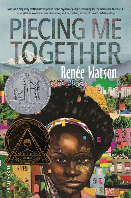 Cover of Piecing Me Together depicting a black girl with a colorful headband standing before a colorful background of trees and houses.