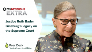 Screenshot of PBS and Pear Deck's collaboration on RBG's legacy.