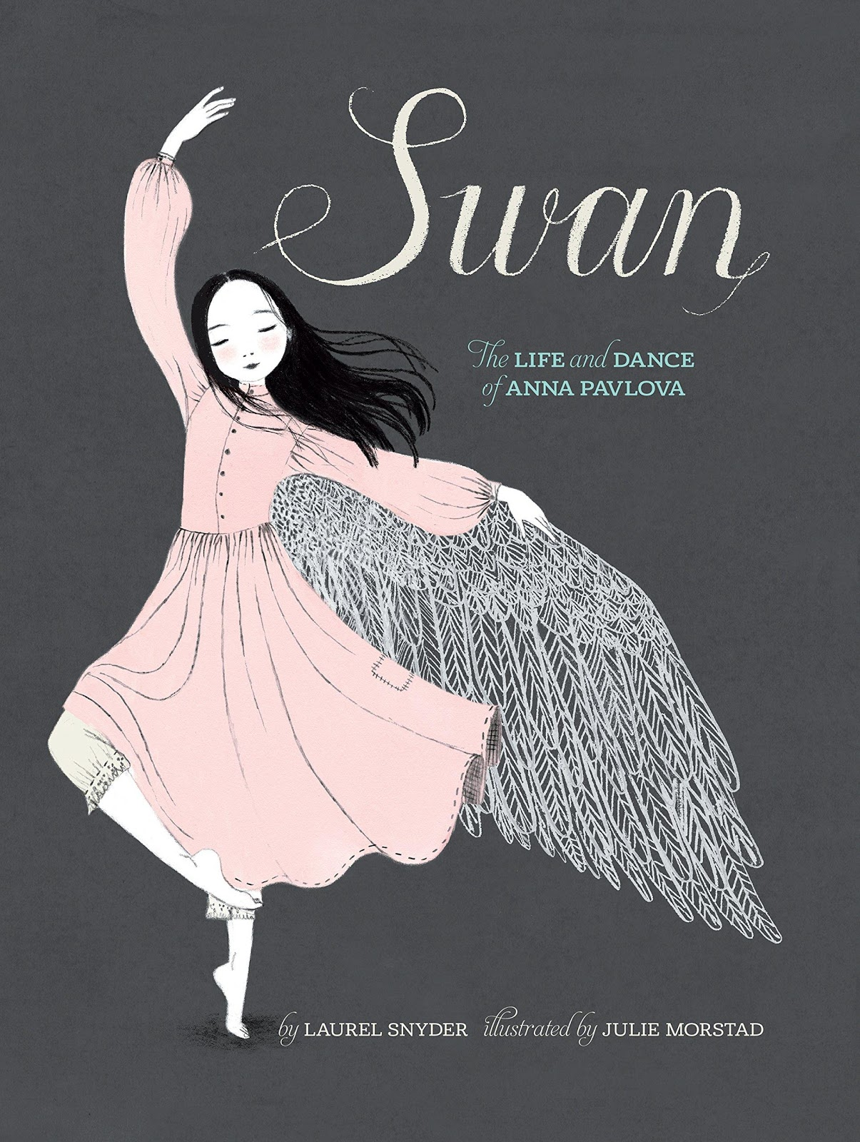 Cover of Swan depicting a young girl with black hair in a pink dress dancing with one arm above her head and the other extended to the side, where wings appear, on a black background.