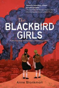 Cover of the Blackbird Girls depicting two girls in black dresses carrying brown backpacks looking out to a red-hued city with a cloud of black smoke rising into the red sky.
