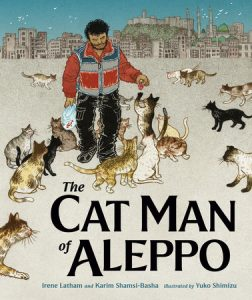 Cover of The Cat Man of Aleppo, depicting a man in a red and grey jacket surrounded by cats with a city in the background.
