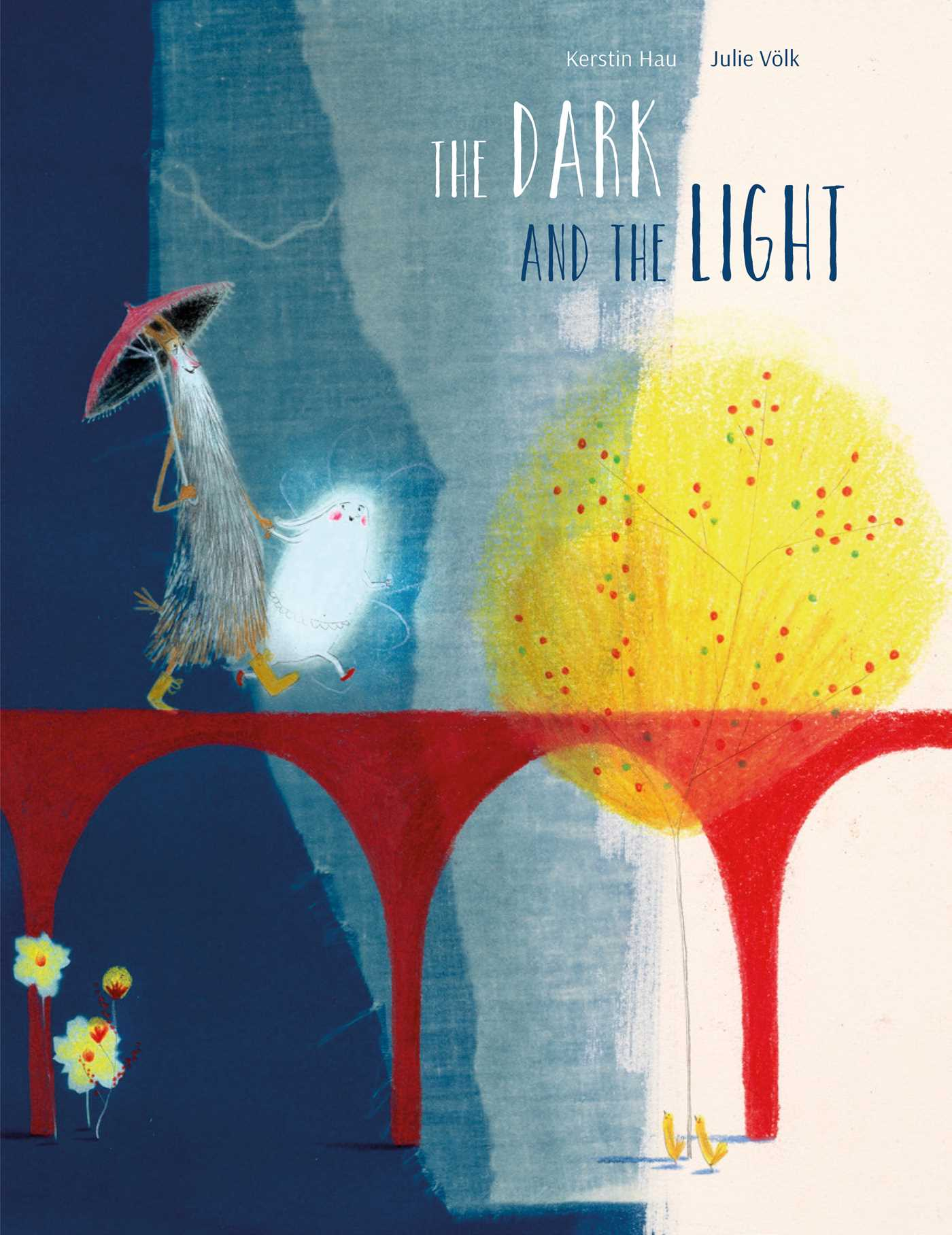 Cover of The Dark and the Light, depicting a tall grey figure wearing a red hat walking besides a smaller, ghost-like white figure on a red bridge with a yellow tree in the background.