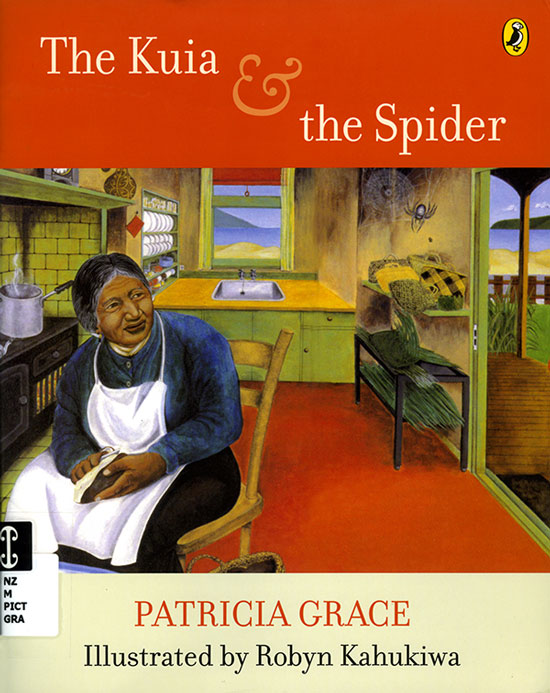 Cover of The Kuia and the Spider depicting an old woman sitting in a chair in a kitchen looking towards a spider in the upper right corner