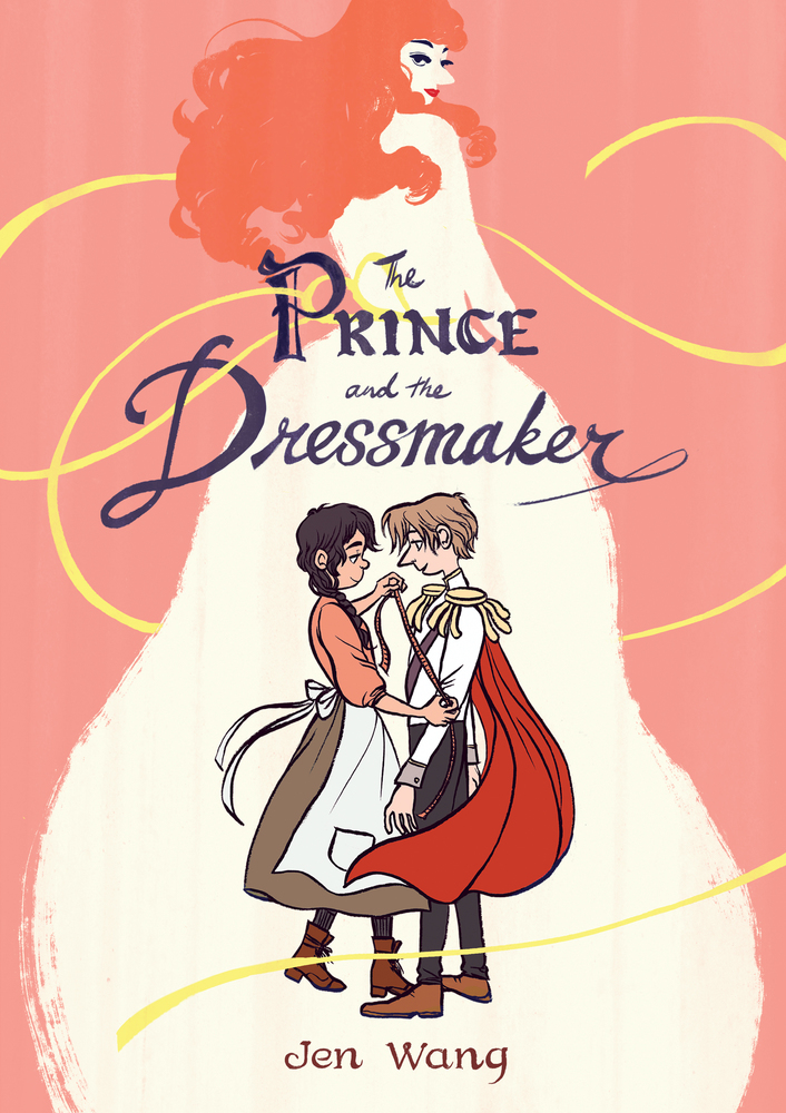 Cover of The Prince and the Dressmaker depicting the dressmaker and the prince dancing in front of a large silhouette of the prince's alter ego.