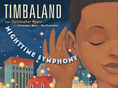Timbaland cover features an African American child with a cupped hand to his ear, listening to the city generally and specifically to the subtitle text Nighttime Symhony curving into his ear.