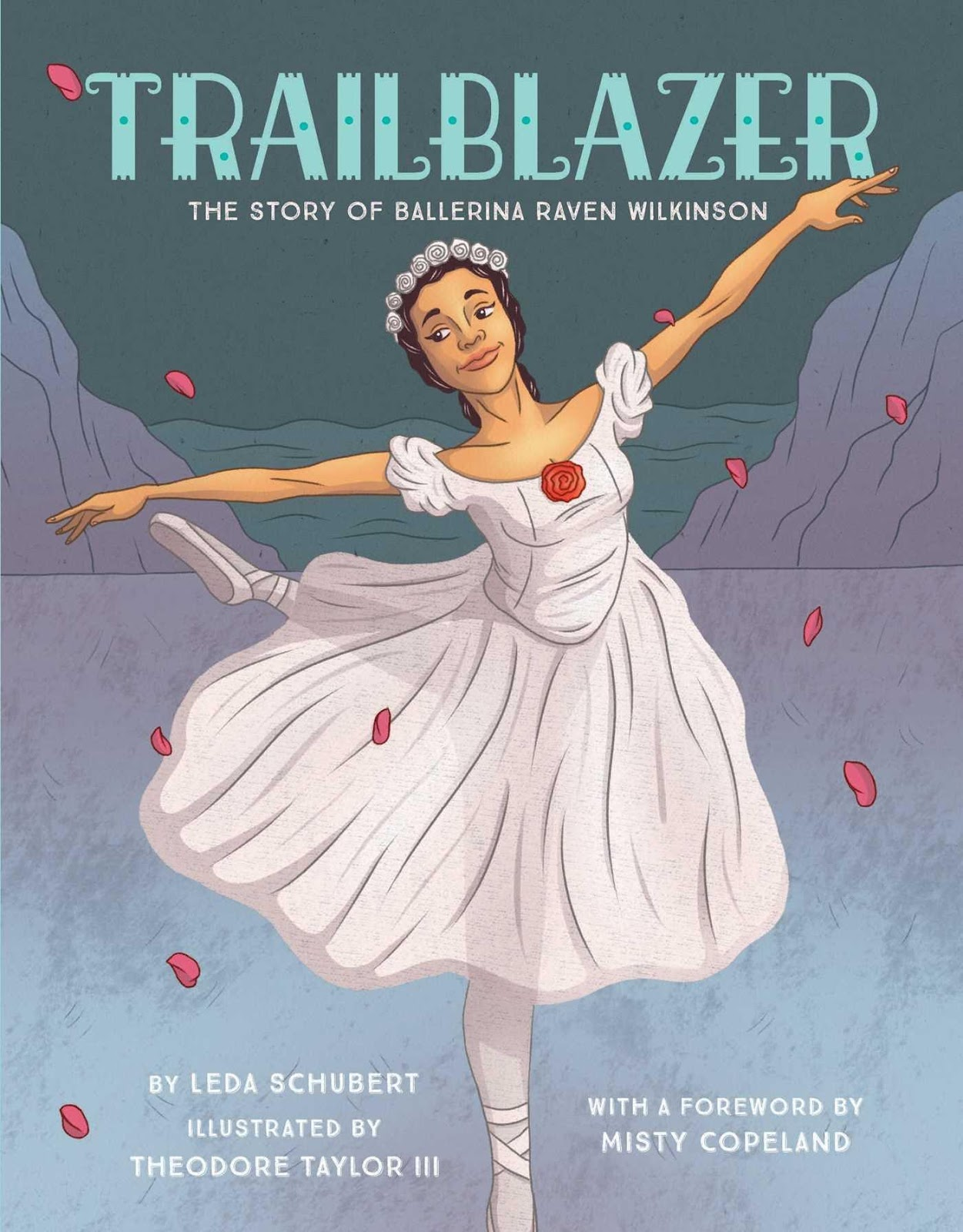 Cover of Trailblazer depicting a black ballerina in a white dress dancing on a frozen lake with red rose petals surrounding her.