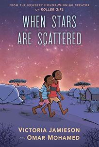 The cover of When Stars are Scattered, depicting two black boys walking through a refugee camp. The sky is resplendently pink and purple, and dotted with stars, behind them.