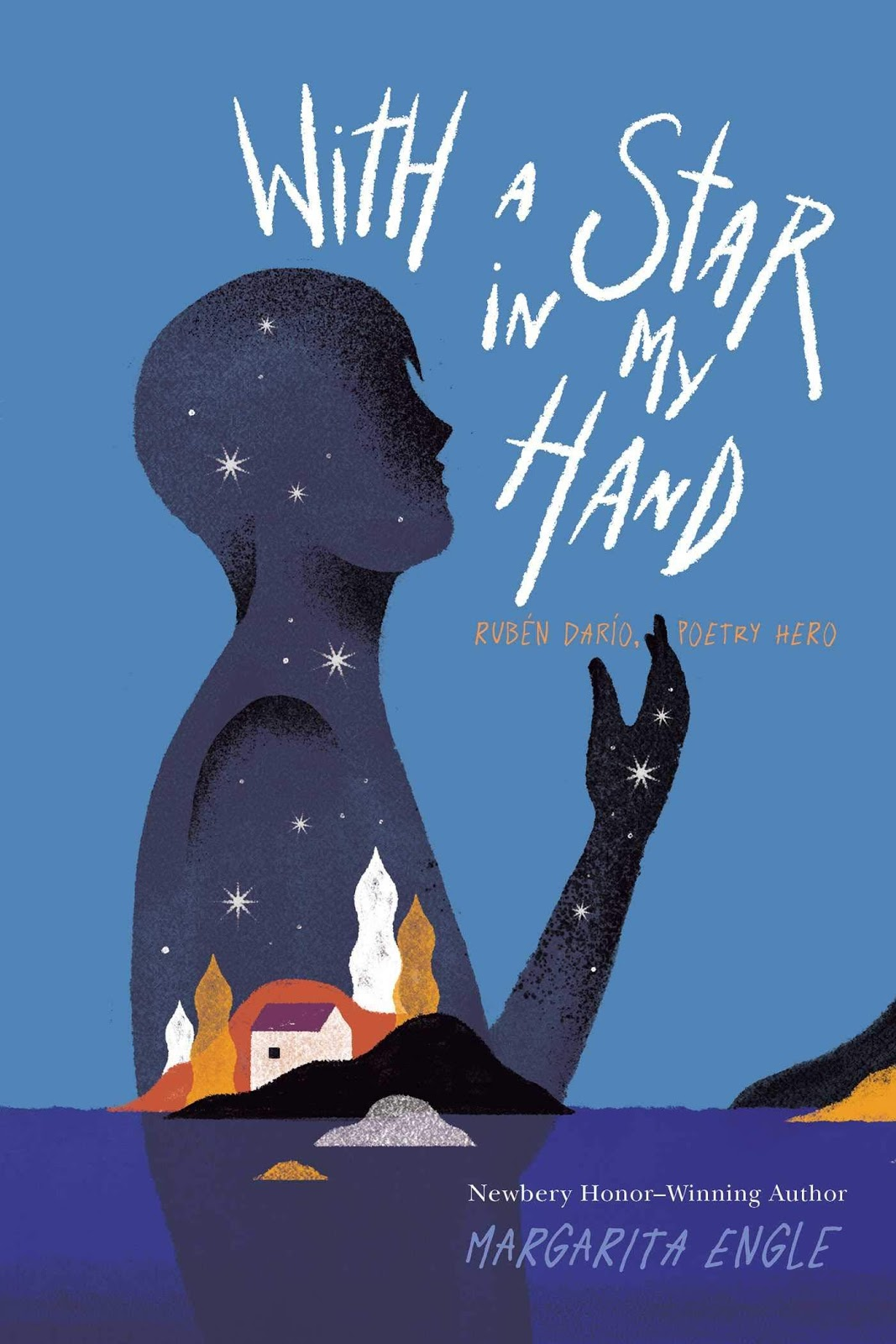 Cover of Star In My Hand depicting a silhouette in blue with stars on it looking right with a small island of colorful buildings in front of it.