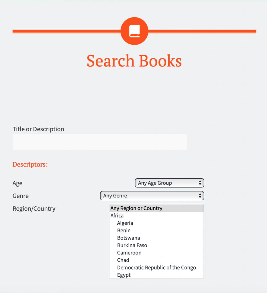 The top two sections of the advanced search form include a title and description search followed by age, genre, and region search.